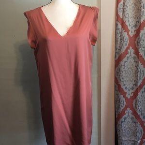 VINCE. Dusty rose lined v neck silk sheath dress